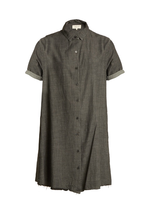 The Great The Bias Cotton Shirtdress In Grey
