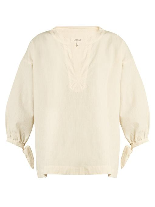 The Great The Tie Sleeve Cotton-chambray Top In Ivory