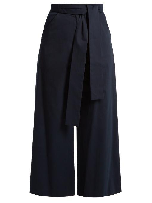 Saloni Elma Stretch-cotton Culottes In Navy
