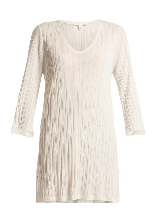 Skin Lace-cuff Cotton Nightdress In White