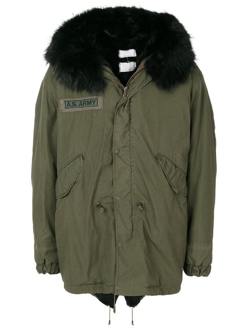 As65 Coat With Fox Fur Collar In Green