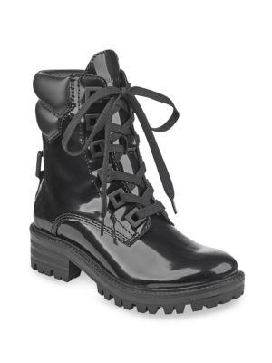Kendall + Kylie Kendall+kylie East Black Shiny Leather Combat Boots