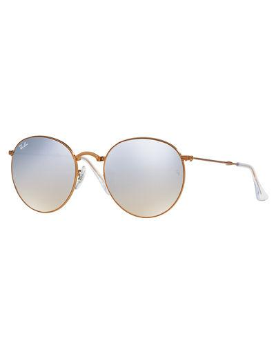 Ray Ban Ray-ban Round Folding Sunglasses Rb3532 1989u 47 | Bronze-copper Frame | Silver Gradient Flash Lense In 198/9ugrey
