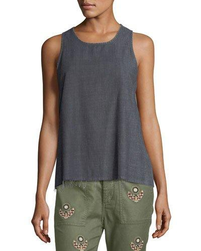 The Great The Bias Denim Tank In Gray
