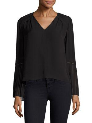 Ramy Brook Sonia Pleated Bell-sleeve Blouse In Black