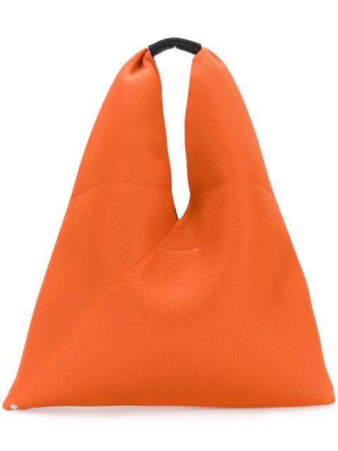 Mm6 Maison Margiela Perforated Triangle Tote In Arancione