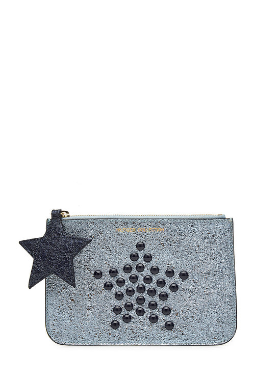 Tommy Hilfiger Studded Metallic Leather Pouch In Blue