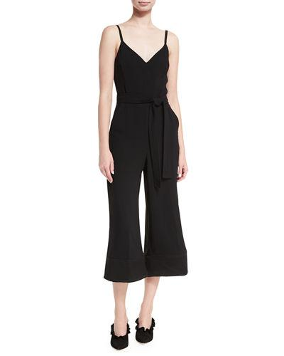 Trina Turk Sleeveless V-neck Culotte Jumpsuit In Black