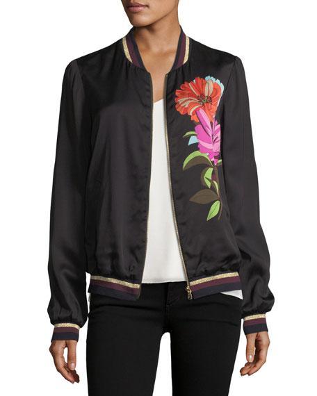 Trina Turk Floral-printed Satin Bomber Jacket In Black