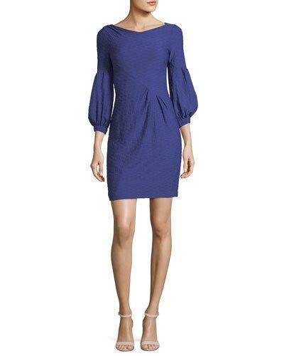 Nanette Lepore Elizabeth Blouson-sleeve Sheath Cocktail Dress In Violet