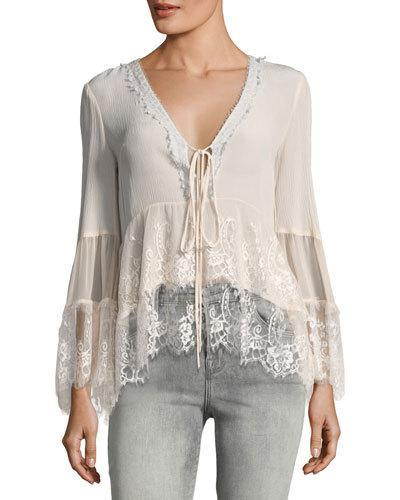 Nanette Lepore Virginia Plunging Lace Peasant Top In Neutral