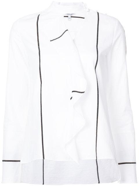 Derek Lam 10 Crosby Long Sleeve Ruffle Front Shirt