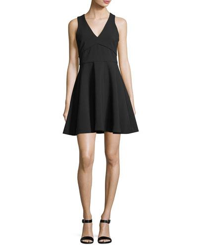 Likely Bunker Sleeveless V-neck Fit-and-flare Cocktail Dress In Black