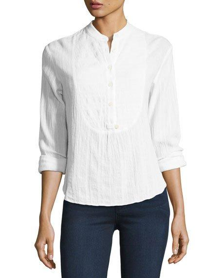 Derek Lam 10 Crosby Long-sleeve Button-front Tuxedo Gauze Shirt In White