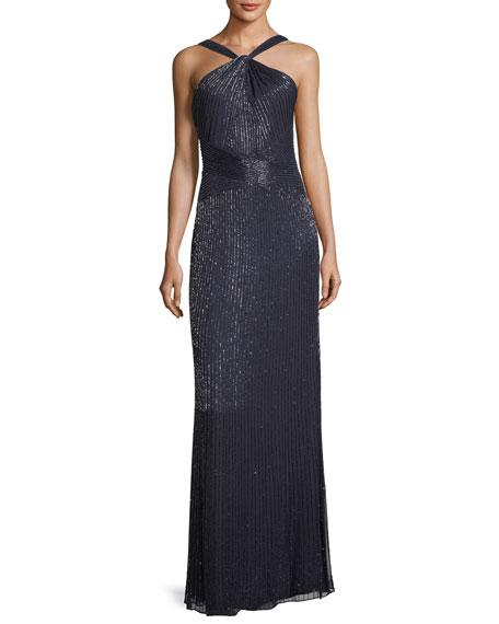 Parker Black Lara Halter Sleeveless Beaded Evening Gown In Navy