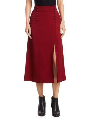 A.l.c A-line Crepe Skirt In Crimson