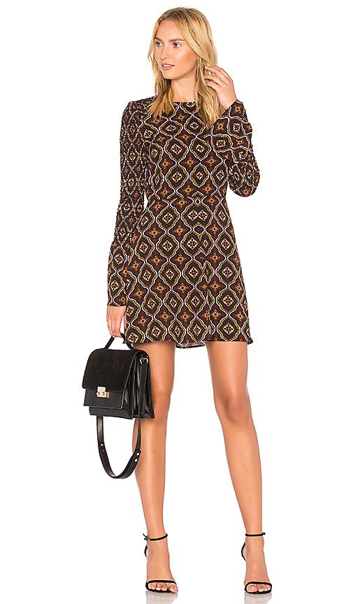 A.l.c Alexa Kaleidoscope-print Smocked-sleeve A-line Dress In Burgundy & Gold Multi