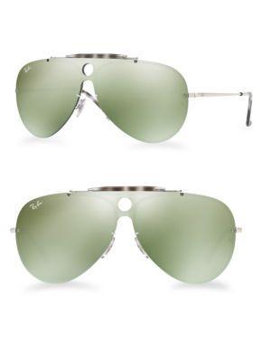 Ray Ban Blaze Shooter Mirrored Aviator Sunglasses In Green