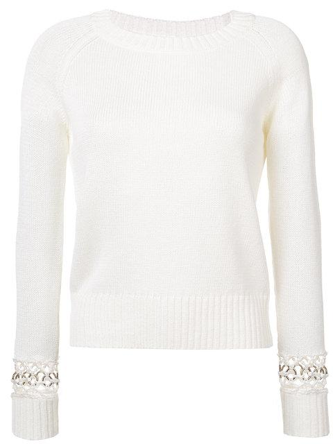 A.l.c Perforated Sleeves Knitted Top In Natural