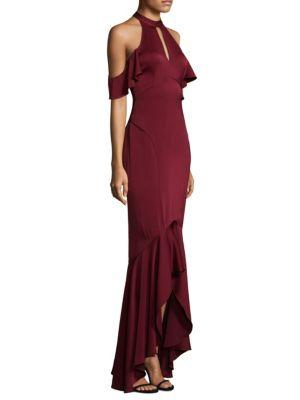 Shoshanna Montrose High-low Ruffle Cold-shoulder Gown In Port