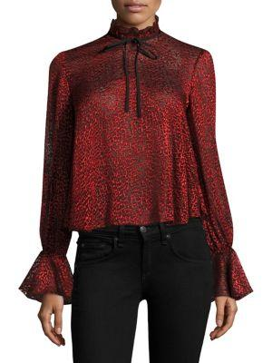 Saloni Tyler Devore Bell-sleeve Cropped Top In Carmine Red