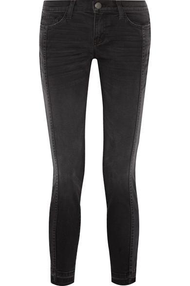 Current Elliott The Seamed Easy Stiletto Mid-rise Stretch-denim Skinny Jeans In Black