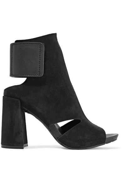 Pedro Garcia Yeca Cutout Leather-trimmed Suede Ankle Boots In Black