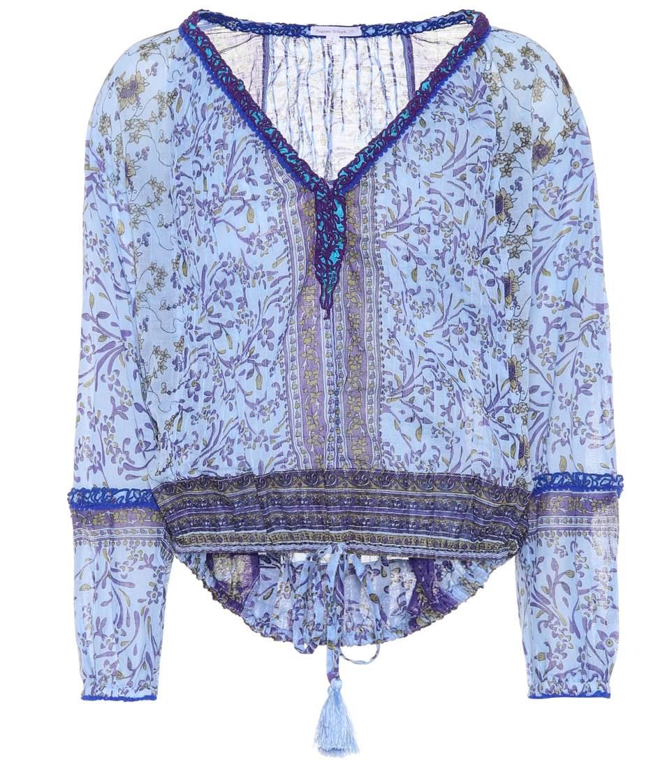 Poupette St Barth Printed Cotton Top In Llue