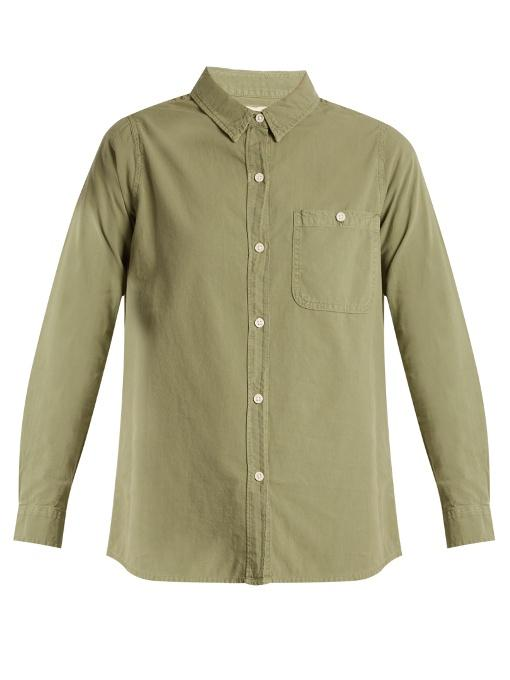 The Great The Campus Patch-pocket Cotton Shirt In Khaki
