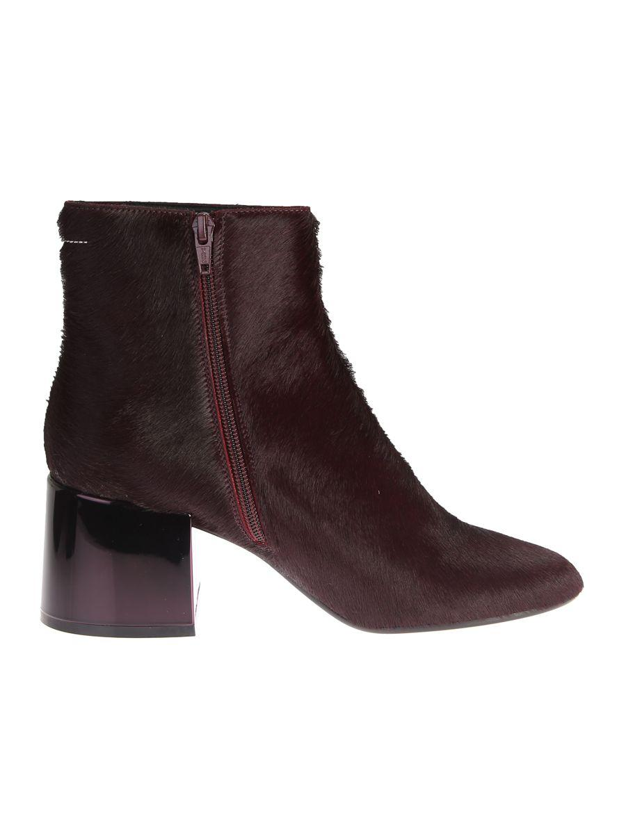 Mm6 Maison Margiela Calf Hair Ankle Boots In Bordeaux