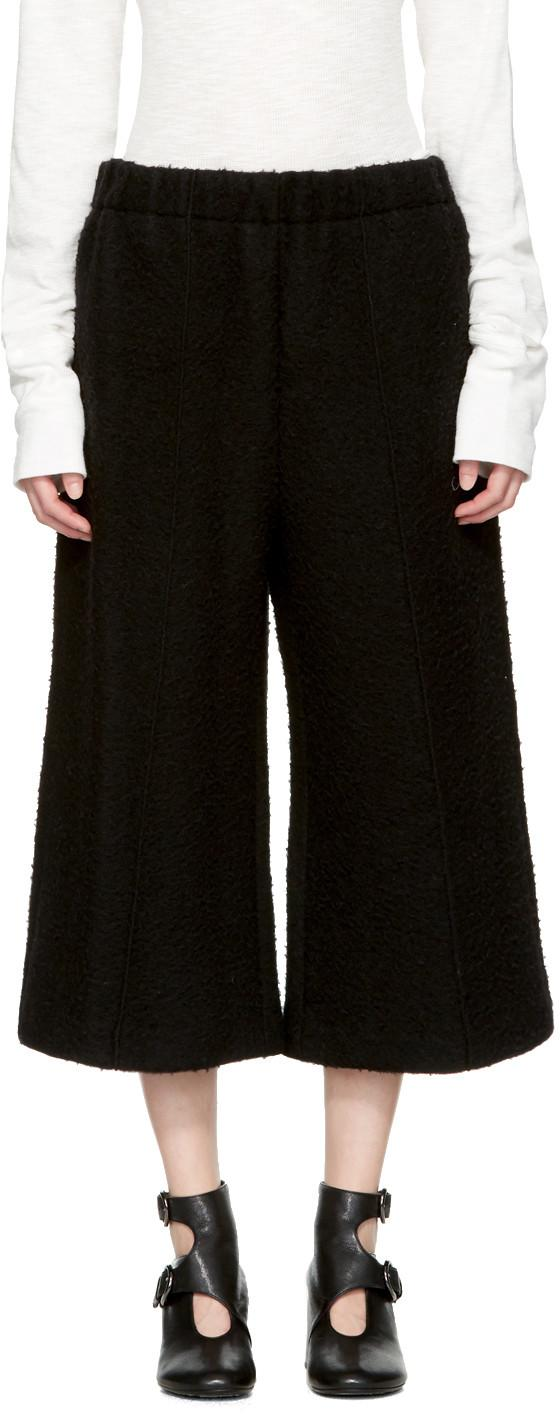 Mm6 Maison Margiela Black Cropped Casentino Trousers In Blue