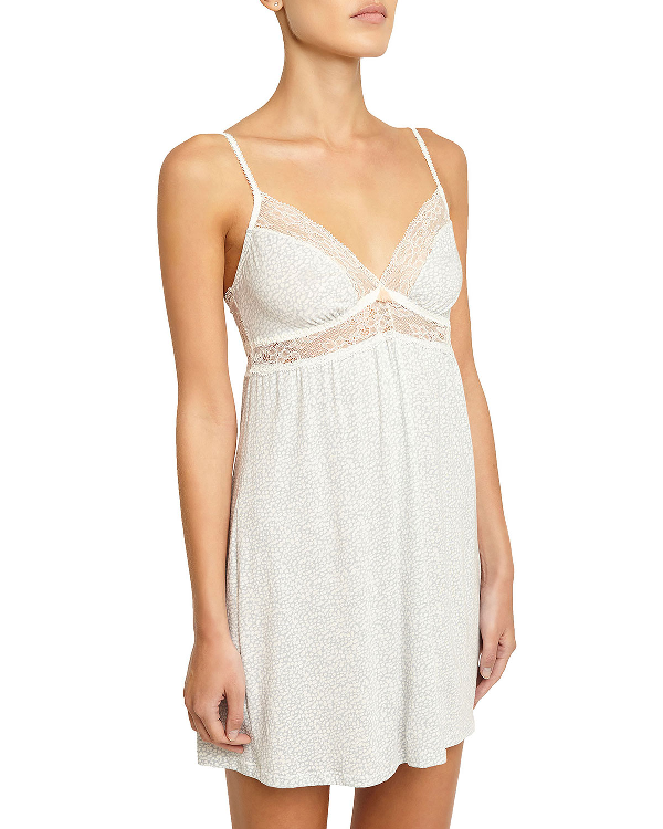 Eberjey Something Blue Lace-trimmed Chemise, Ivory In Blue Pattern