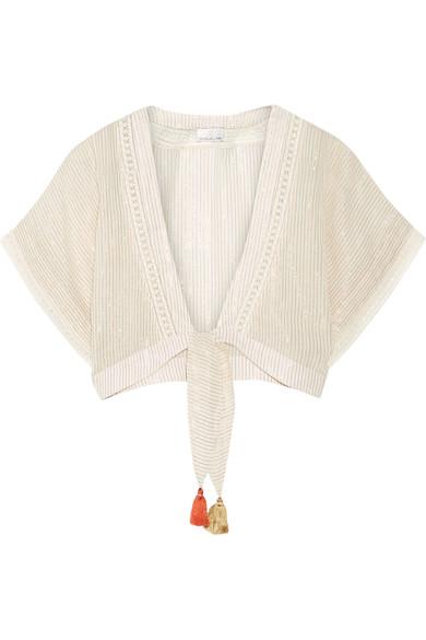 Miguelina Saanchi Cropped Striped Metallic Cotton-gauze Top