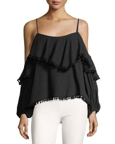 Misa Elisa Cold-shoulder Tiered Blouse W/ Pompoms In Black