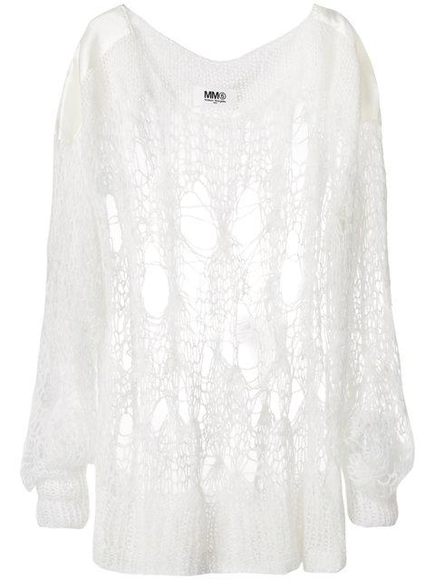 Mm6 Maison Margiela Oversized Open Knit Sweater