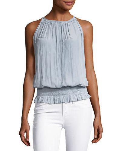 Ramy Brook Lauren Sleeveless Smocked-waist Top In Silver