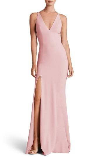 Dress The Population Iris Slit Crepe Gown In Blush