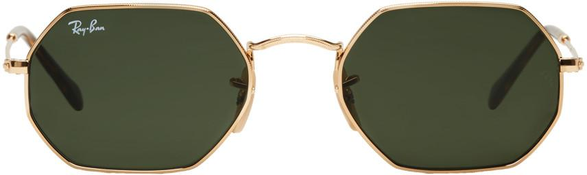Ray Ban Ray-ban Gold Octagonal Flat Sunglasses In 001  Gold