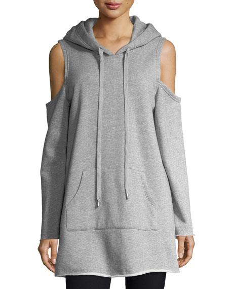 Kendall + Kylie Cold-shoulder Long-sleeve Hooded Sweatshirt In Gray