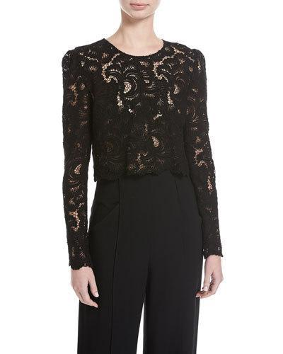 A.l.c Talia Long-sleeve Jewel-neck Cropped Lace Top In Black
