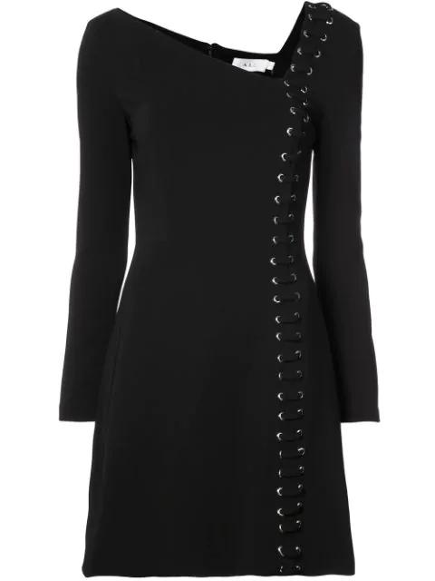 A.l.c Luca Lace-up Asymmetric-neck Long-sleeve Crepe Dress In Black