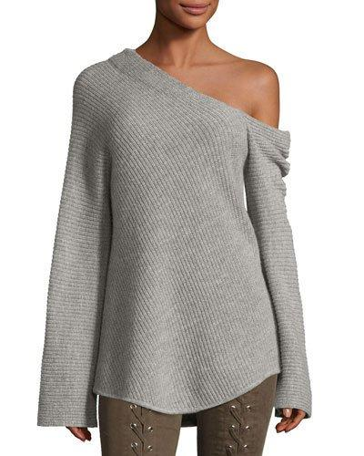 A.l.c Charly One-shoulder Long-sleeve Wool Sweater In Gray