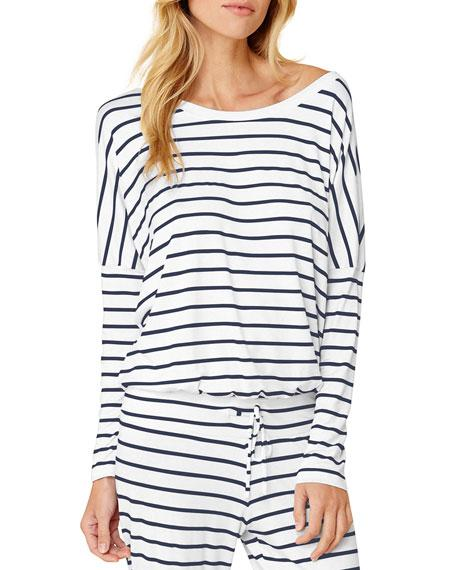 Eberjey Striped Slouchy Lounge Tee In Multi Pattern