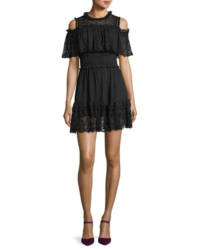 Rebecca Taylor Cold-shoulder Ruffled Eyelet Silk Mini Dress In Black