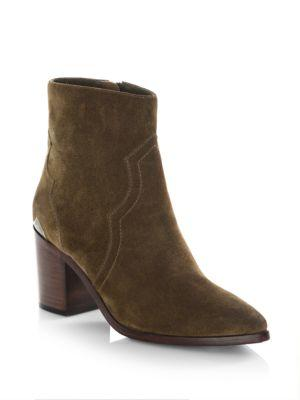 Frye Flynn Short Suede Boot With Metal Plate In Chestnut