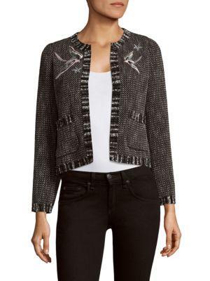 Rebecca Taylor Tweed Crewneck Cropped Jacket In Black Combo