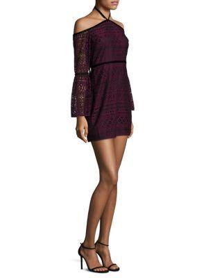 Likely Kakki Off-the-shoulder Lace Mini Dress In Purple Pattern