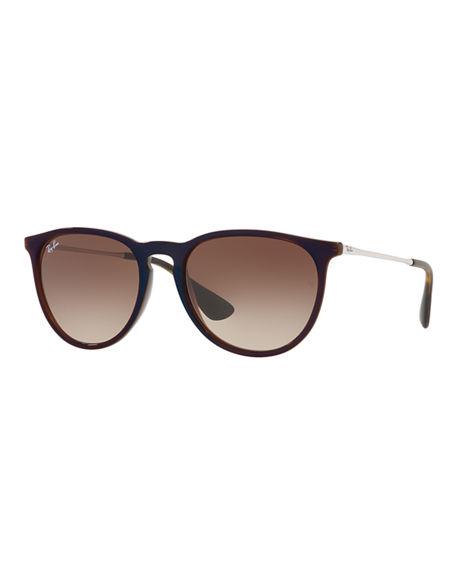 Ray Ban Gradient Keyhole Nose Bridge Sunglasses In Brown