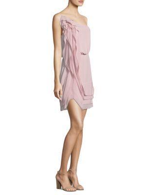 Bcbgmaxazria Ruffled One-shoulder Dress In Lavender