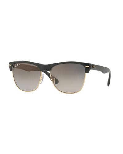 Ray Ban Clubmaster Oversized Polarized Sunglasses In Black Metallic